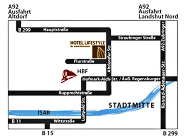 Landshut - Hotel Lifestyle Anfahrt